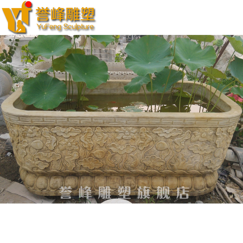 [Cosmos] antique sculpture lotus stone aquarium fish tank ornaments white marble rectangular fish tank outside courtyard