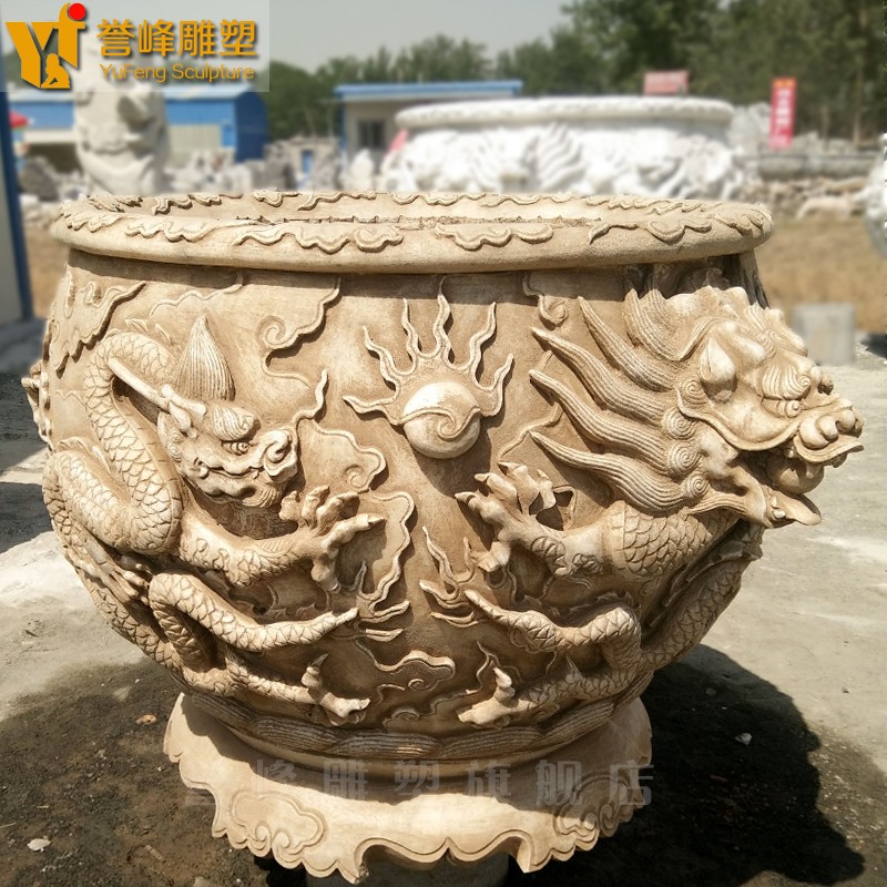 [Cosmos] dragon sculpture carved natural marble stone stone fish tank aquarium fish tank factory outlets can be customized