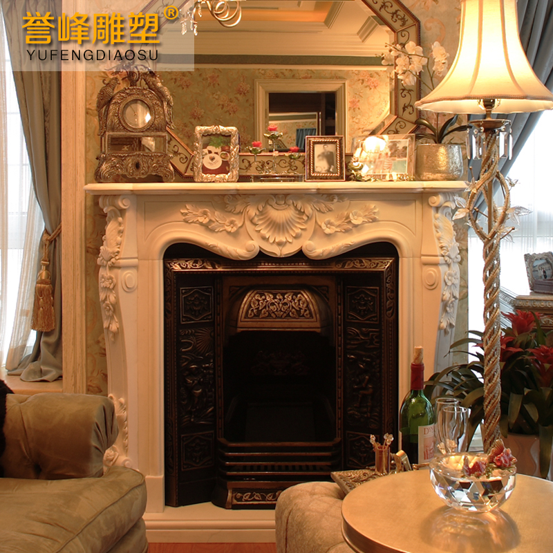 [Cosmos] white marble sculpture carved exquisite sculpture indoor decoration cabinet fireplace marble fireplace mantel