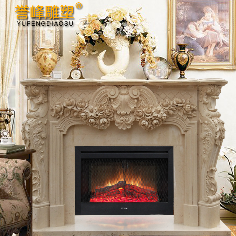 [Cosmos] white marble sculpture exquisite atmosphere continental rich flowers mantel decoration style natural