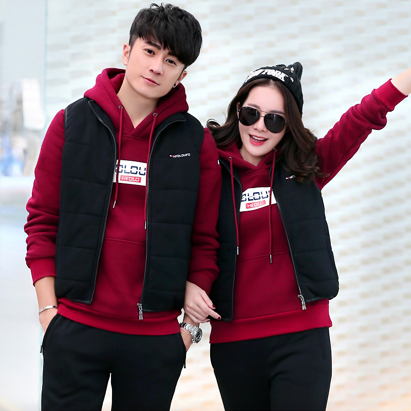 Cotton men's cotton padded jogging leisure sports suit lovers fall and winter female plus velvet thick warm three sets of winter clothes