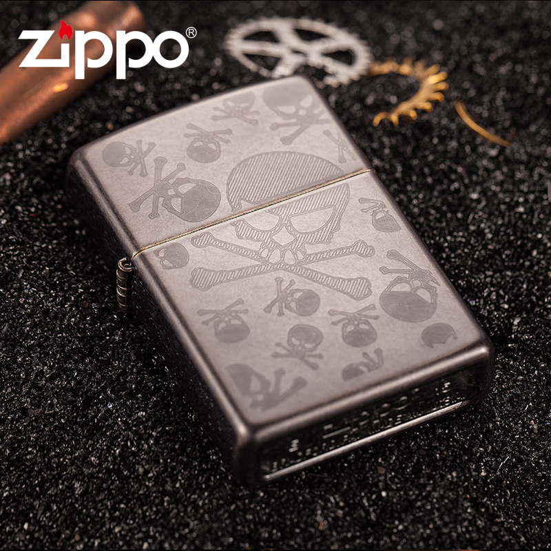 Counter genuine american original authentic zippo windproof lighter windproof sided skull bone pattern 28685