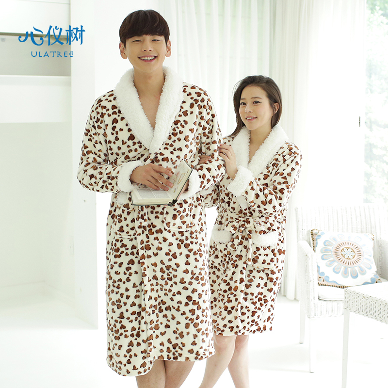Get Quotations · Couple autumn and winter flannel nightgown long section leopard  pajamas robe bathrobe home service men and 2b49fefa7