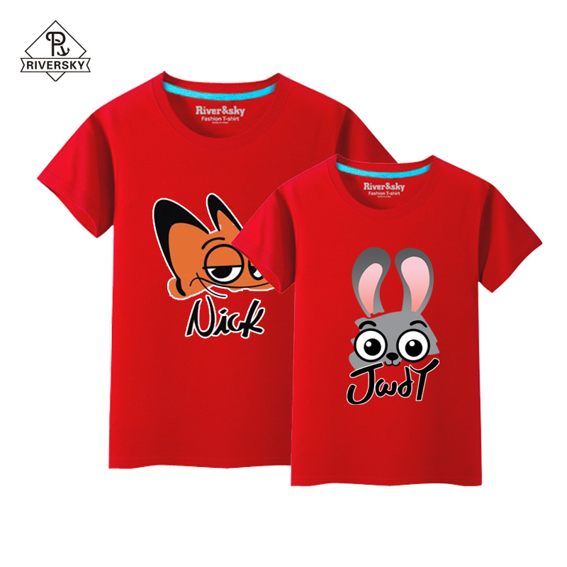 Couple t-shirts for men and women the same paragraph nick judy animal lovers cotton round neck short sleeve cartoon summer sleeve
