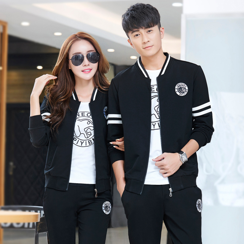 Couples sports suit female korean slim leisure suit three sets of fashion cardigan sweater 2016 hitz