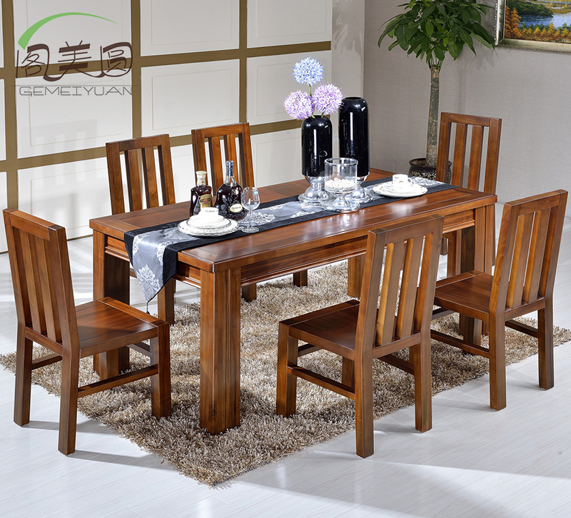 Court five dollar package teak teak dining table solid wood dining tables and chairs square table table table four chairs six chairs combination
