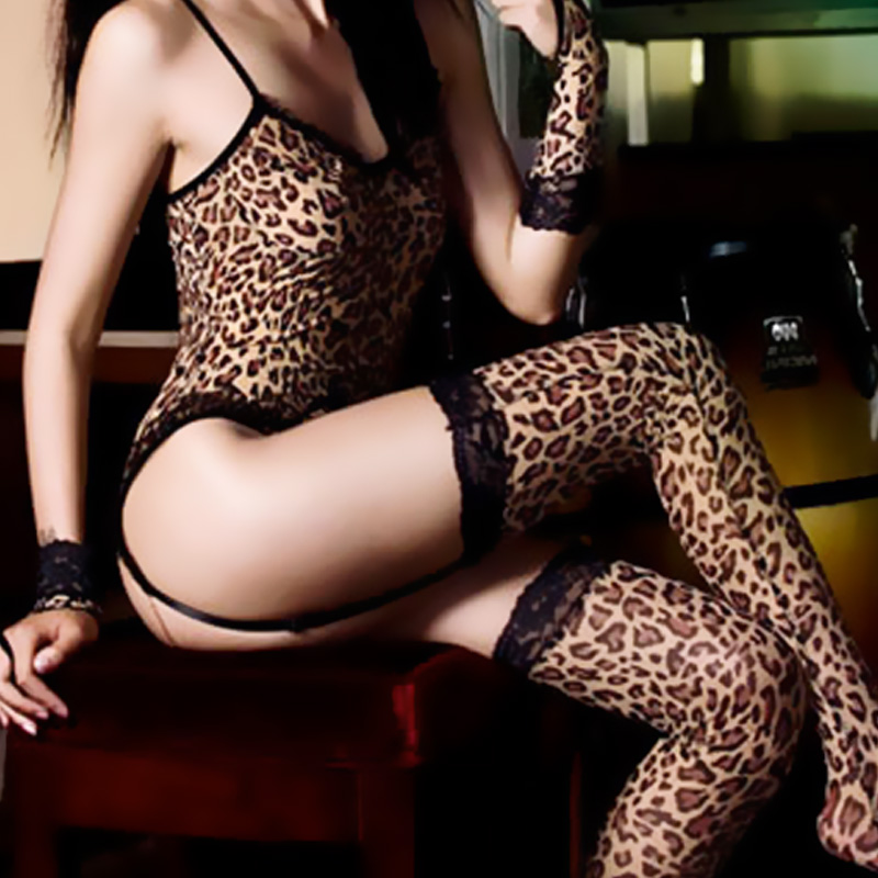 Coveralls stockings sexy underwear women sexy leopard leotard uniforms gloves suit sao temptation to flirt