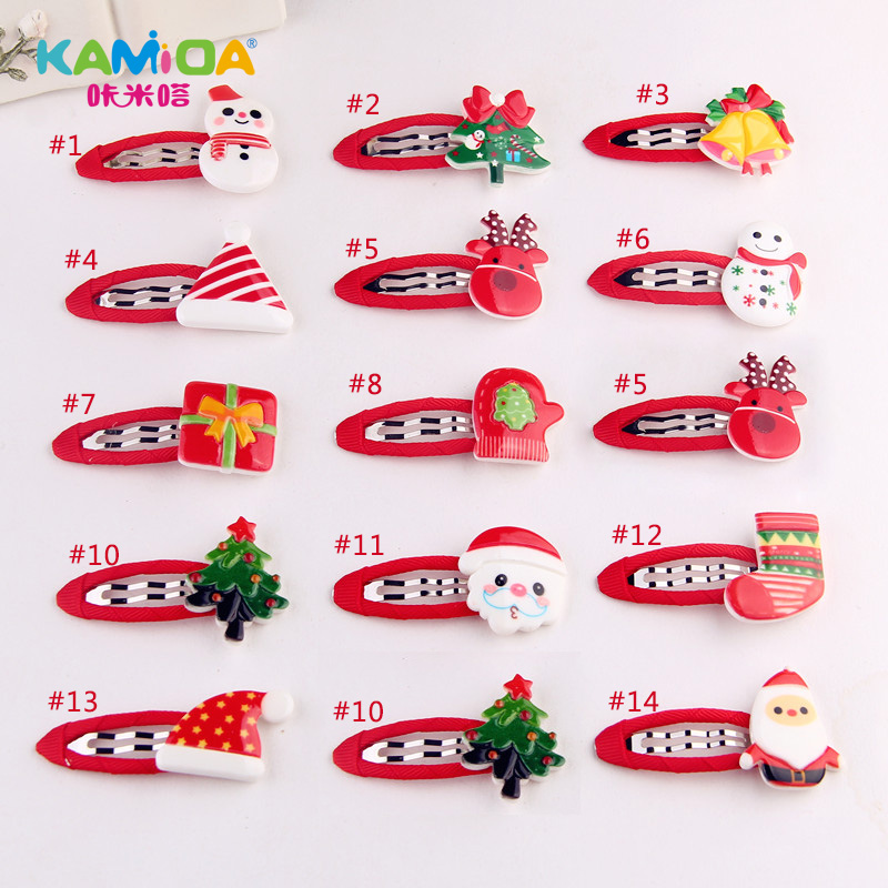 Cracking meters despair children christmas tree printed acrylic bb clip hairpin hairpin headdress hair accessories baby hair
