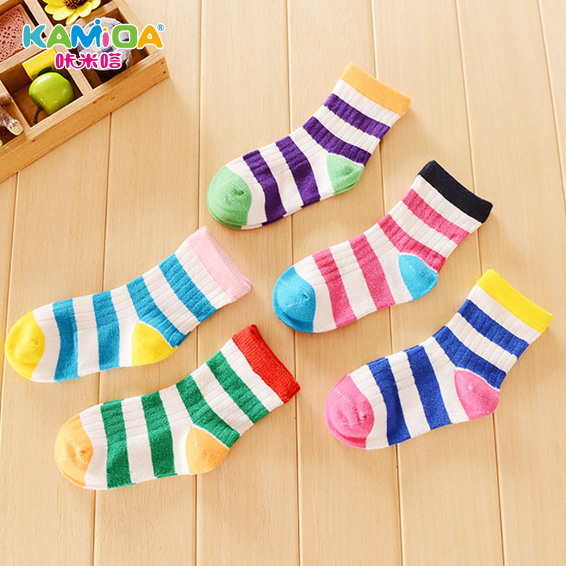 Cracking meters despair children fall and winter socks 5 pairs of dress socks rainbow cotton baby boys and girls in tube socks free shipping