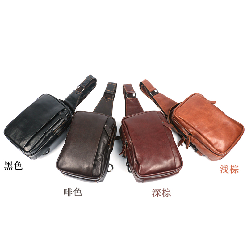 Crazy horse hide leather first layer of leather messenger bag casual leather man bag leather men's chest pack male back men's sports bag leather bag