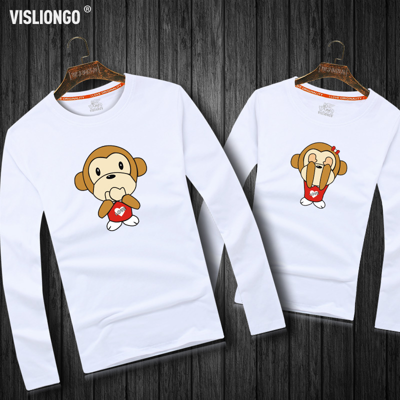 Creative cartoon cute monkey mouth cotton male and female models lovers shirt long sleeve t-shirt plus fertilizer xl autumn