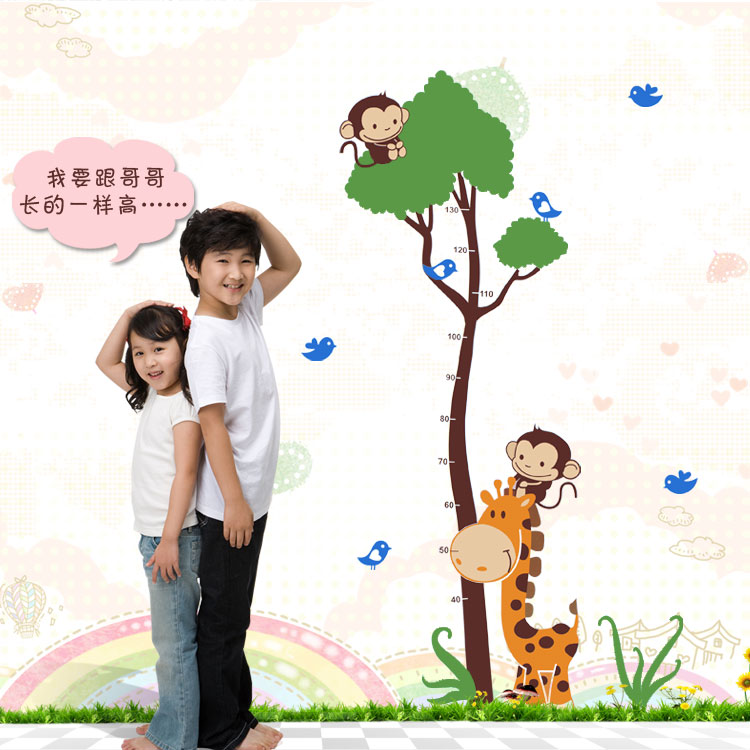 Creative cartoon monkey tree height stickers children's room wallpaper adhesive sticker nursery wall stickers decorative painting