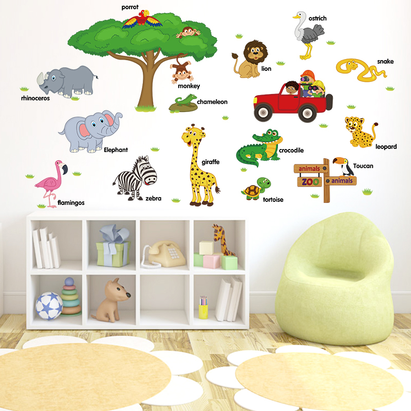 Creative children's room bedroom bedside decorative wall stickers cartoon stickers early childhood educational baby animal stickers decorative stickers