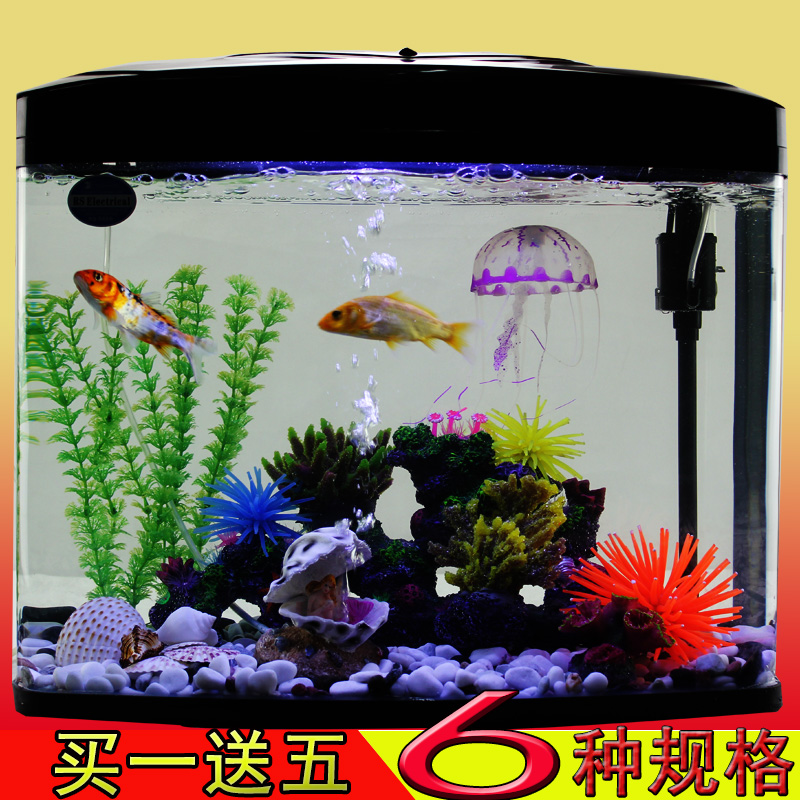Creative ecological aquarium goldfish bowl ultrawhite glass mini small tropical fish scenery landscaping equipment