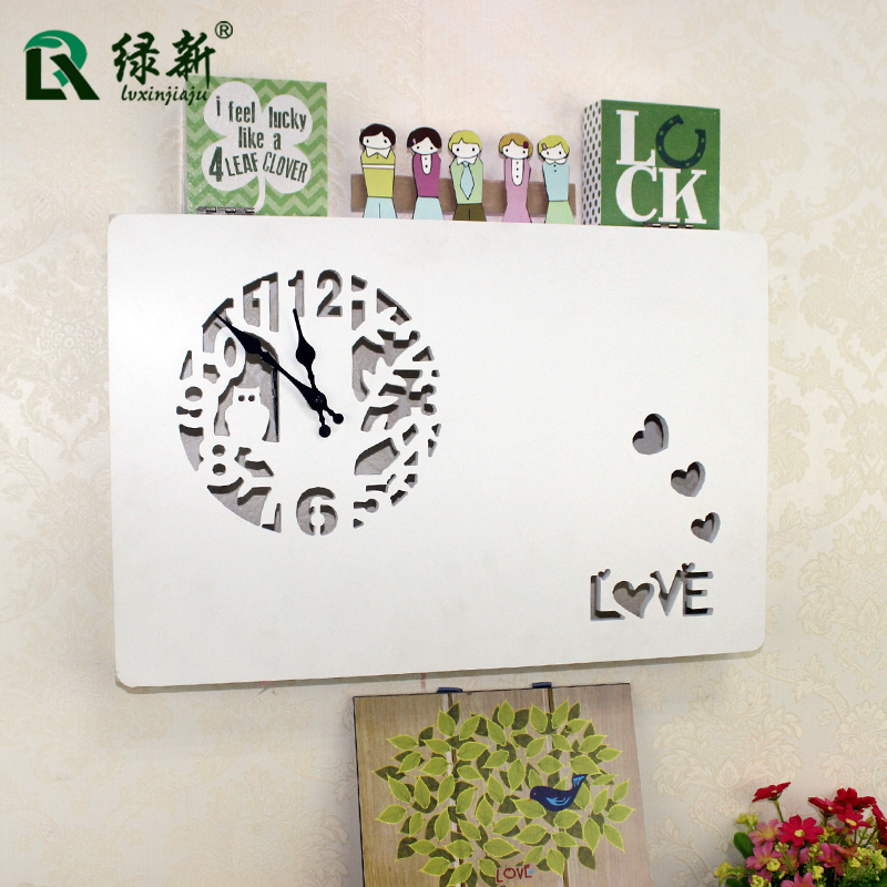 Creative home wall clock european pastoral carved meter box decorative painting block box distribution box decorative boxes wall hangings