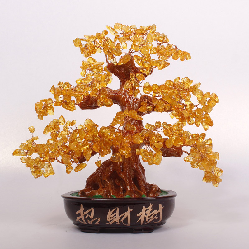 Creative living room office small crystal lucky tree ornaments crafts home decor furnishings opened housewarming shipping