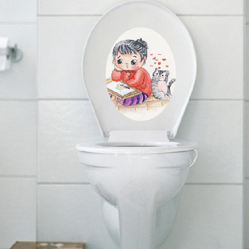 Creative oval toilet cartoon stickers decorative stickers bathroom toilet multi home improvement and environmental protection can be removed klimts