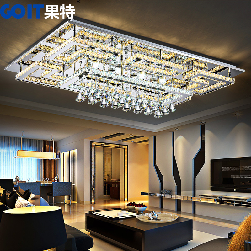 Creative personality led crystal lamp modern minimalist rectangular atmospheric lighting living room ceiling lamp bedroom lamp warm xin