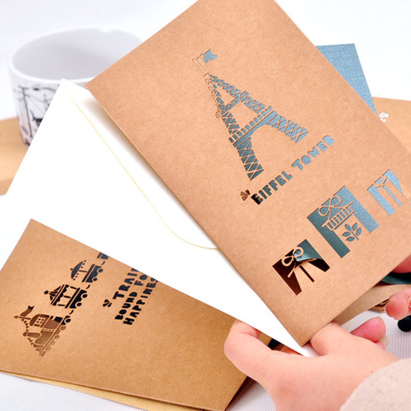 Creative retro kraft paper lace three-dimensional hollow holiday greeting cards birthday wishes greeting cards with envelopes