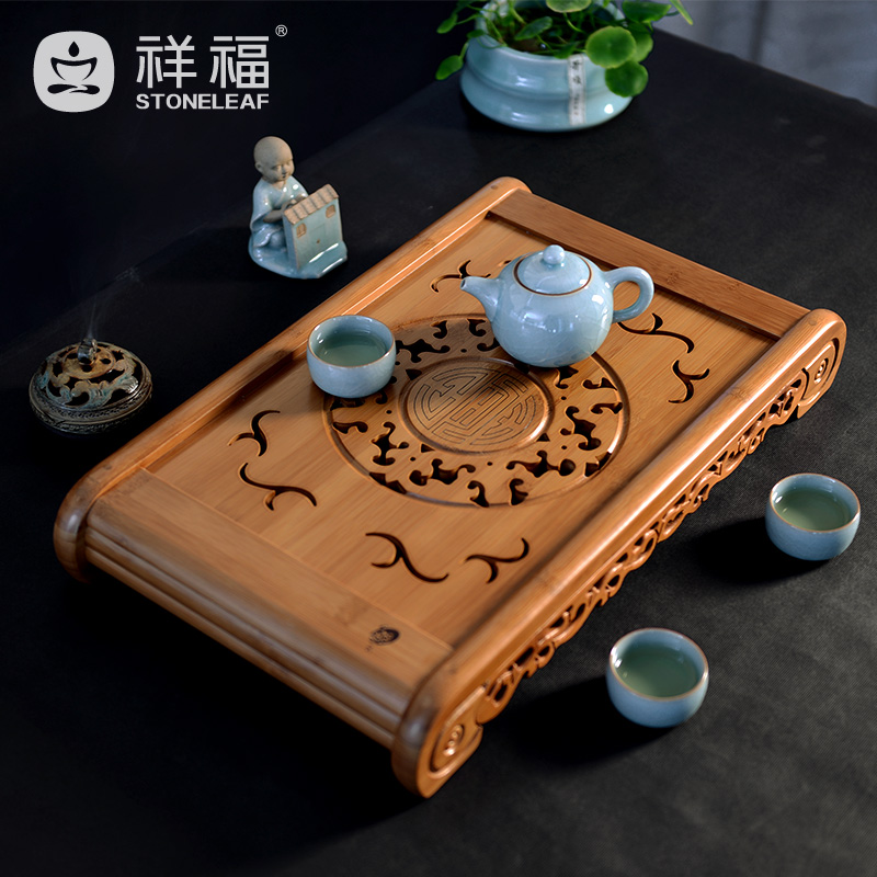 Creative storage drawer stayed kung fu tea saucer tea sea bamboo tea tray bamboo fu ming