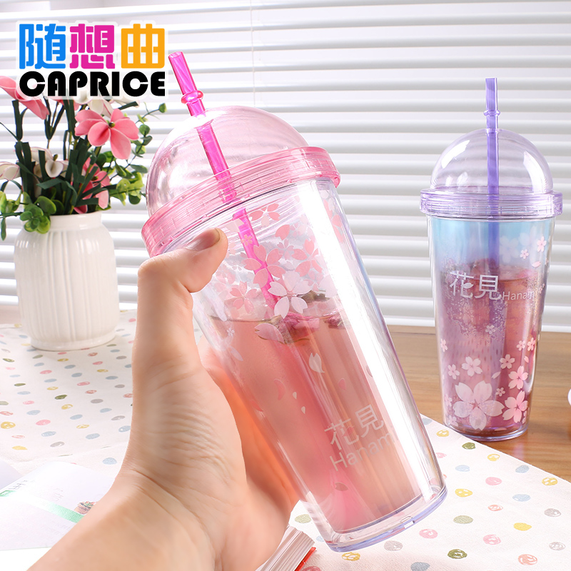 Creative straw cover cherry bunk summer cartoon water cup coffee cup double plastic material covered cute adult female