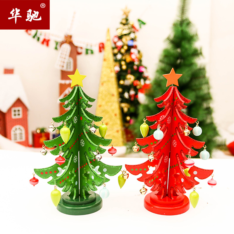 Creative wooden christmas tree ornaments crafts wooden tabletop decorations christmas gift packages