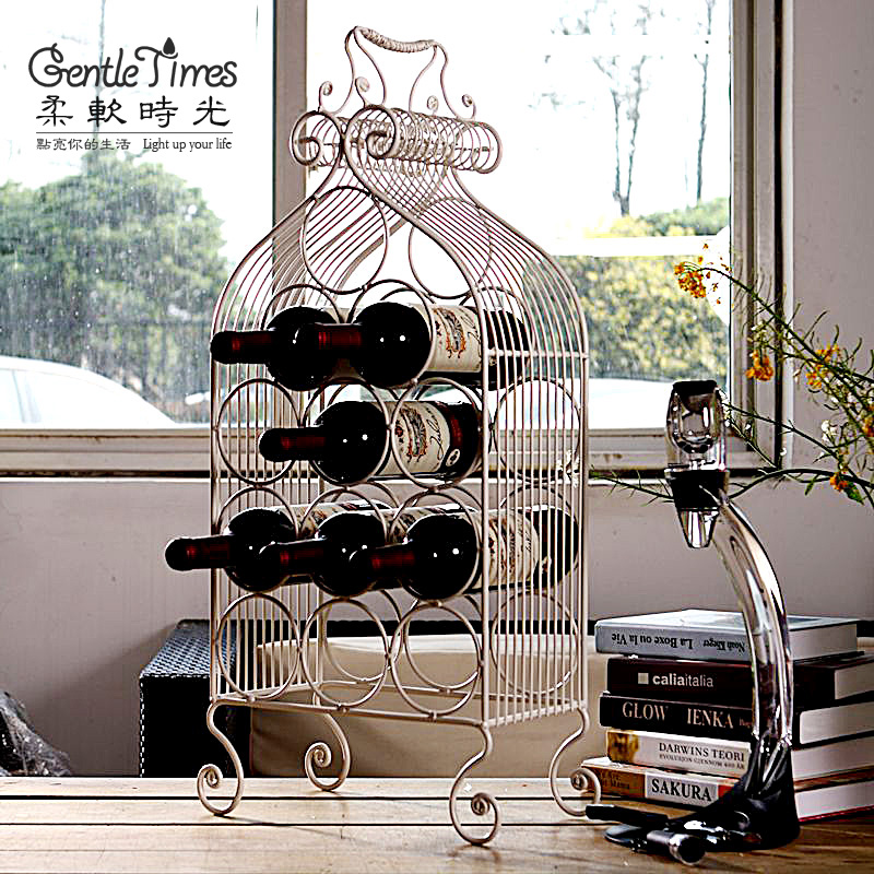 Creative wrought iron wine rack wine rack decorations living room decoration european modern minimalist tv cabinet ornaments home pendulum design