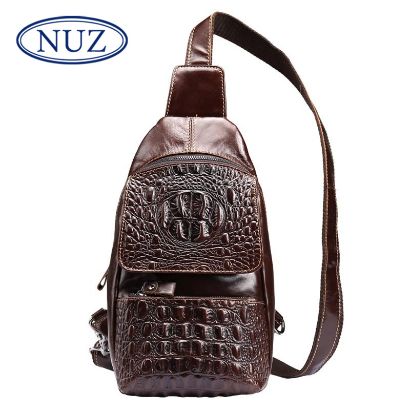 Crocodile nuz multifunction pockets bag casual fashion new men's solid color first layer of leather retro package 5079