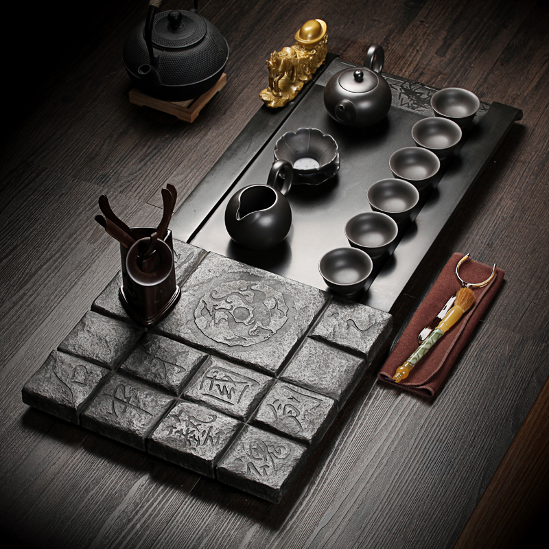 Crown kun black stone stone tea sets tea tray yixing tea set kung fu tea tea entire household