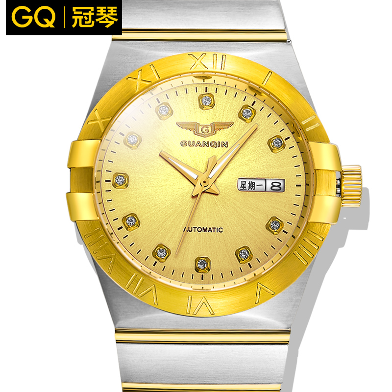 Crown piano authentic upscale gold-plated automatic mechanical watch fashion business waterproof watch male table retro table
