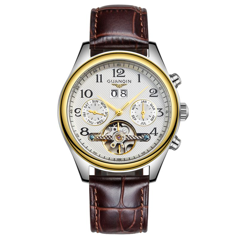 Crown piano authentic upscale tourbillon automatic mechanical watch men watch leather watch waterproof hollow male table