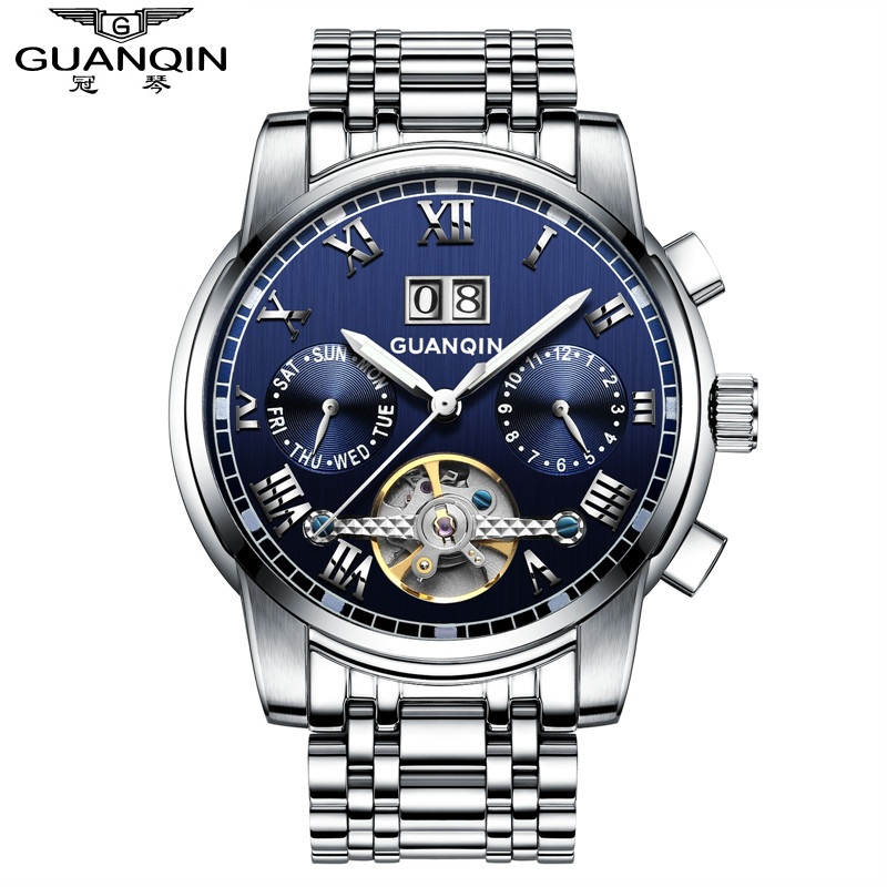 Crown piano authentic watches automatic mechanical watch luminous watch hollow tourbillon watch men's fashion watches steel waterproof watch business men watch