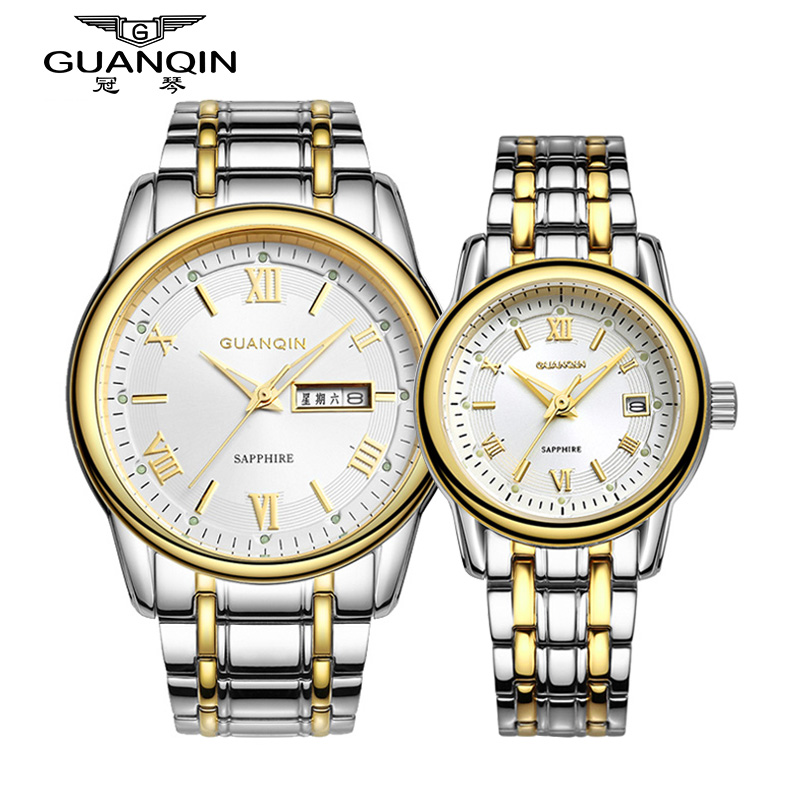 Crown piano genuine couple watch one pair of thin quartz watch men watch women watch couple watch on the table business casual table