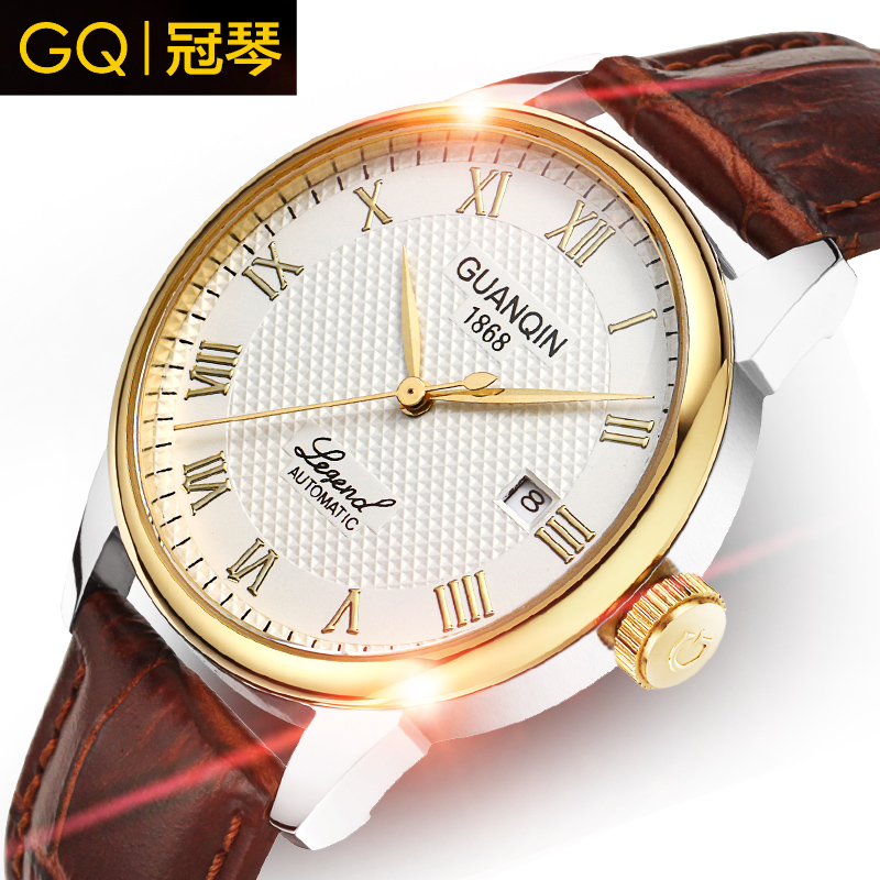 Crown piano genuine men automatic mechanical watches waterproof leather strap watches men watch fashion watch retro business