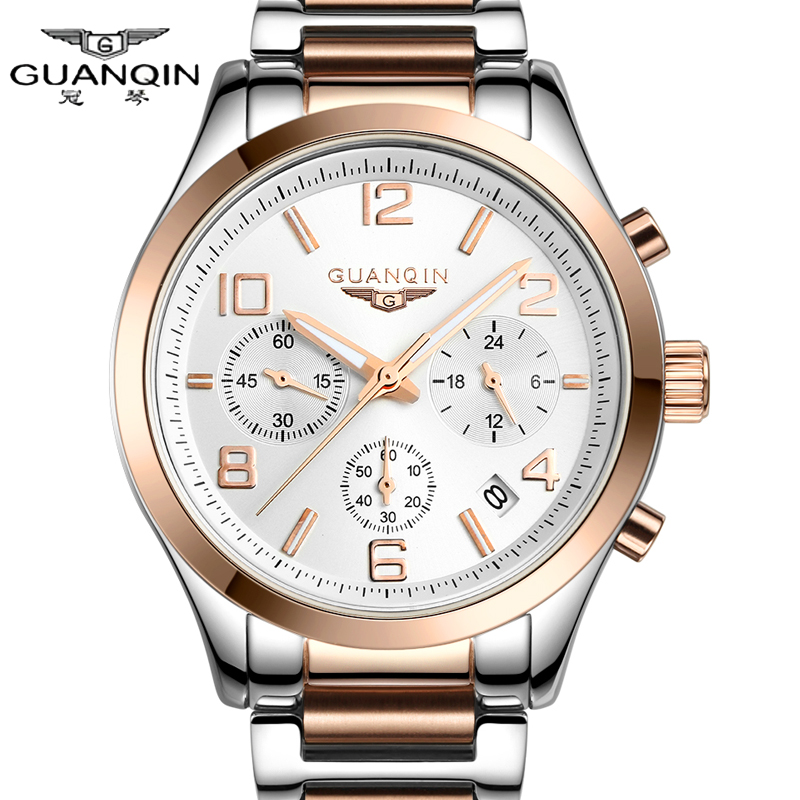 Crown piano genuine multifunction luminous watches men quartz watch big dial stainless steel watch male fashion student table