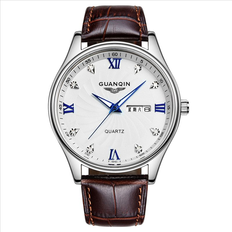 Crown piano genuine quartz watch men watch waterproof genuine leather belt male table double calendar luminous watch business