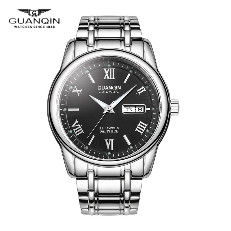 Crown piano male watch automatic mechanical watch steel belt fashion watch men watch waterproof luminous double calendar business men watch