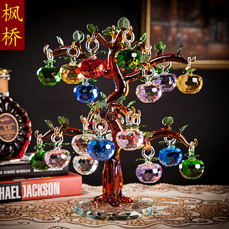 Crystal apple tree home decoration lucky tree ornaments crafts upscale living room wine wedding wedding gift