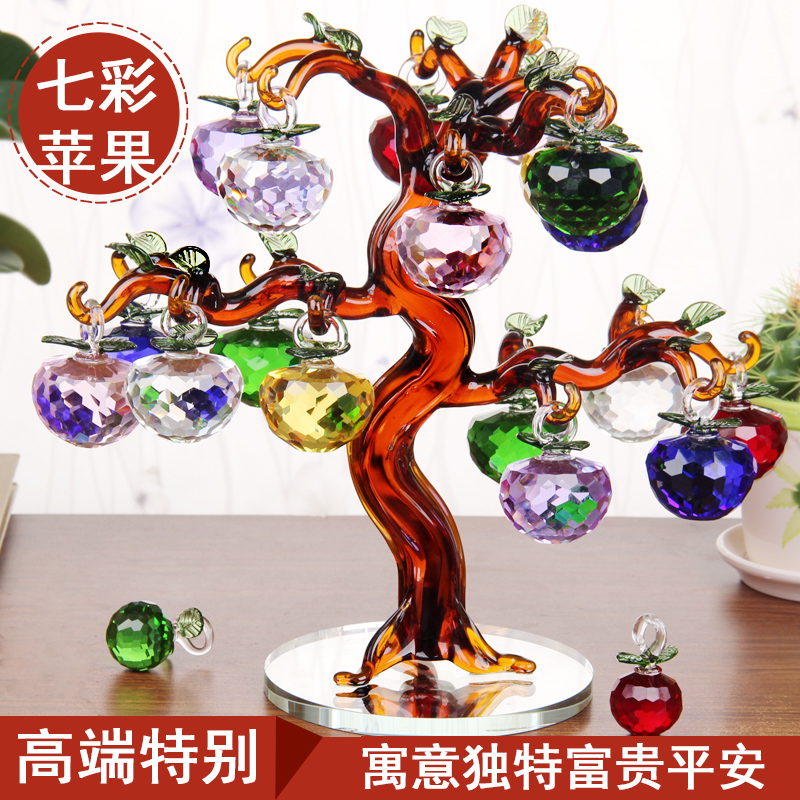 Crystal apple tree ornaments creative home minimalist modern living room entrance wine new room decorations office