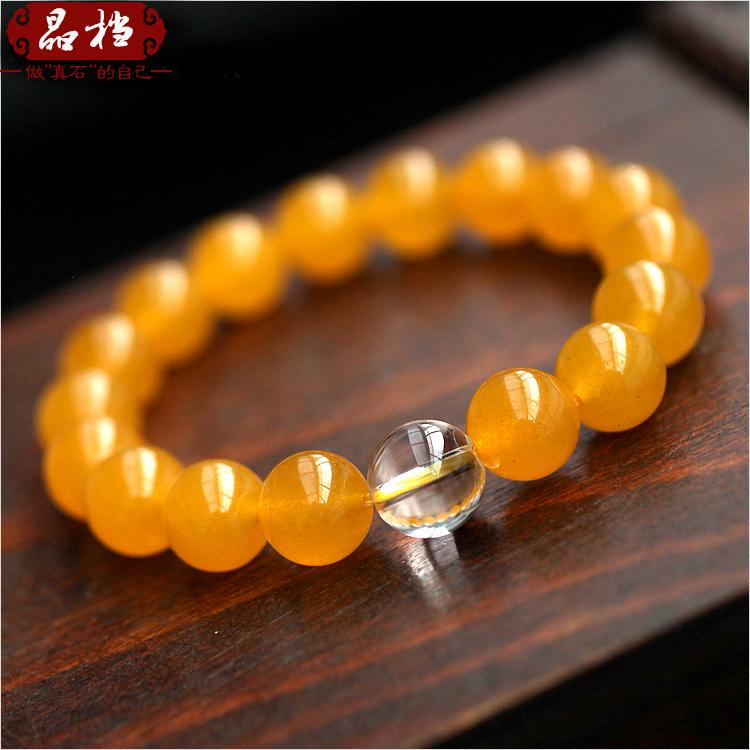 Crystal file new accessories yellow chalcedony crystal beads bracelet bracelets for male and female japanese and korean fashion jewelry transporter