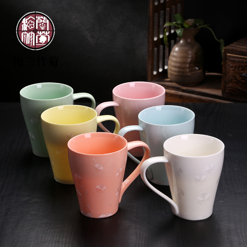 Crystalline glaze couple cups to send his girlfriend household drinking cup ceramic cup creative minimalist office mug cup large cup