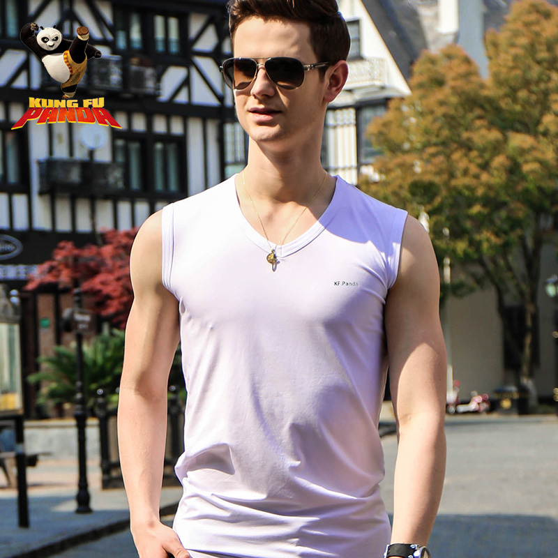 Ctnr mercerized cotton slim young men with broad shoulders sleeveless vest summer sports and fitness tight v-neck shirt bottoming