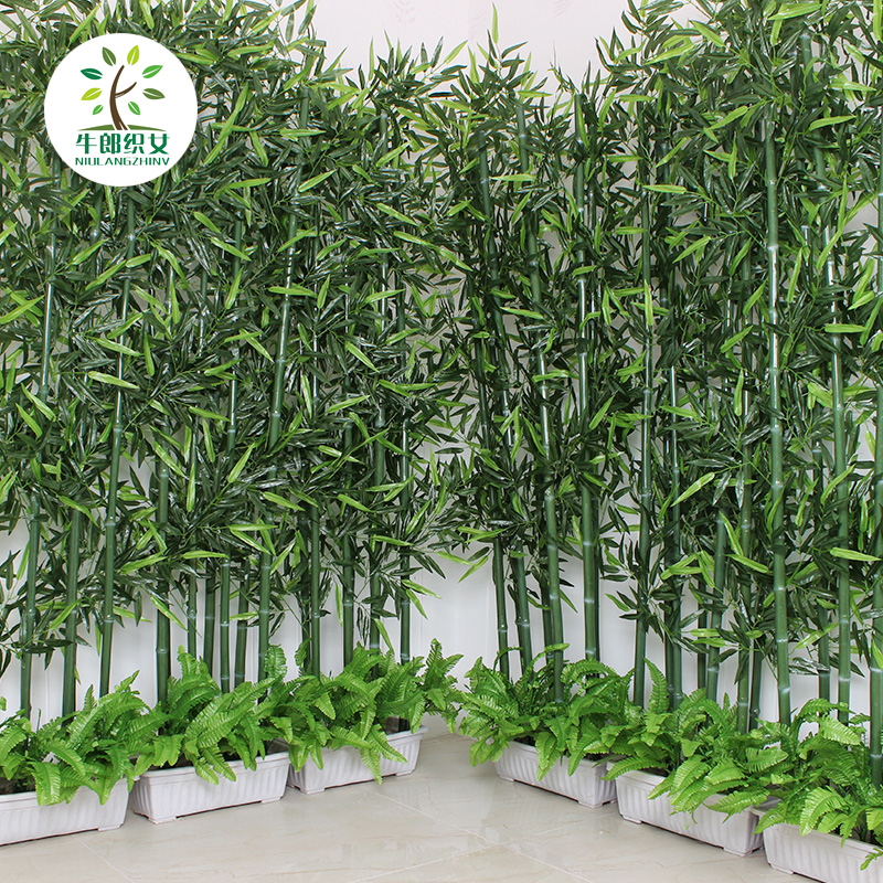 Custom encryption simulation bamboo leaves transport bamboo partition wall decorative potted landscaping plastic fake plastic bamboo fumigation