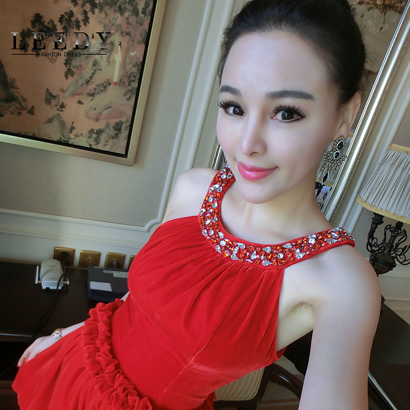 Custom leedy genuine 2015 spring new korean women sexy halter strapless exposed back princess dress