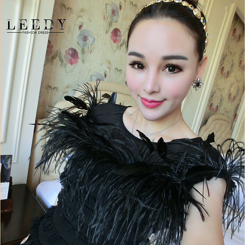 Custom leedy genuine 2015 spring new women's retro ladies slim package hip dress pinch pleated wool feather