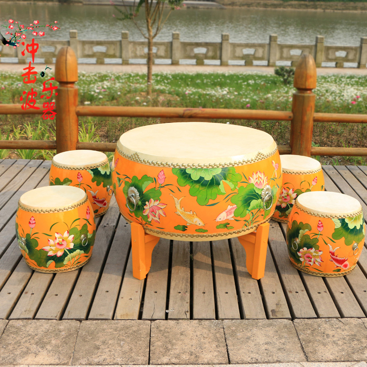 Custom painted lotus pattern dana percussions drummer drum drum drum drum cowhide drum stool stool solid wood coffee table coffee table