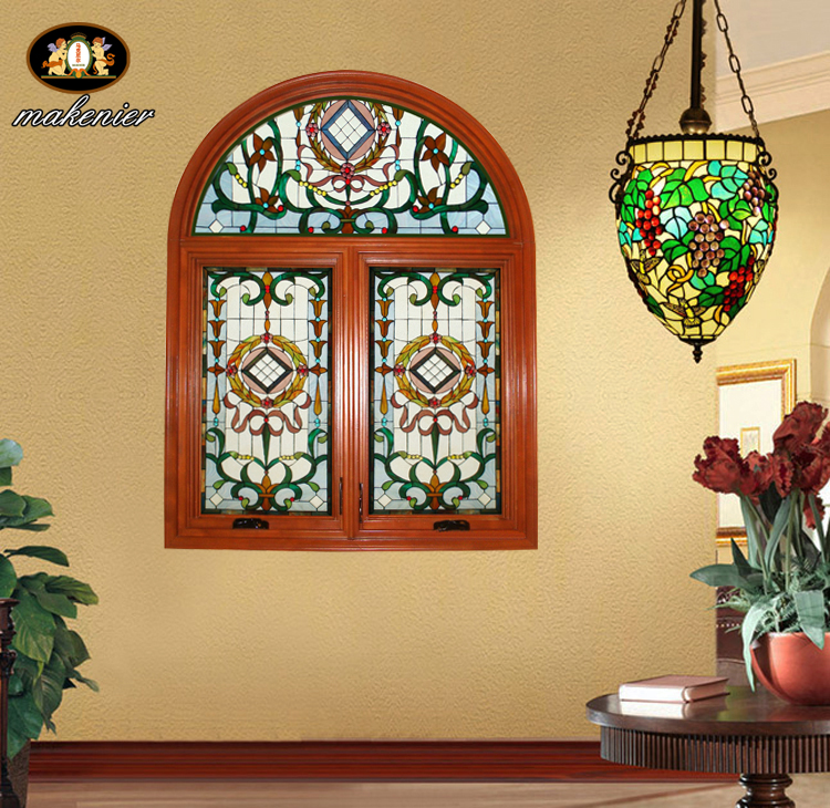 Custom solid wood sliding door and window bars and clubs villa houses european church stained stained glass art