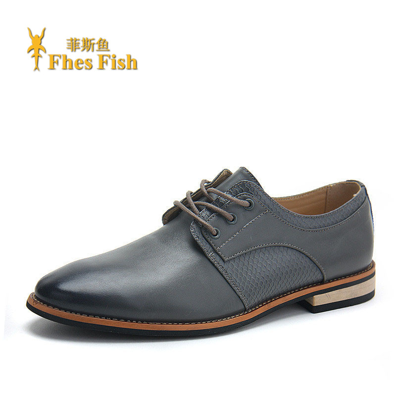 Customized fhesfish british style solid color lace men's casual business shoes pointed shoes increased low shoes