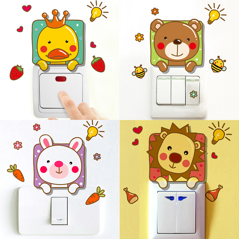 Cute animal cartoon switch stickers socket wall stickers creative stickers decorative wall stickers children's room nursery wall sticker