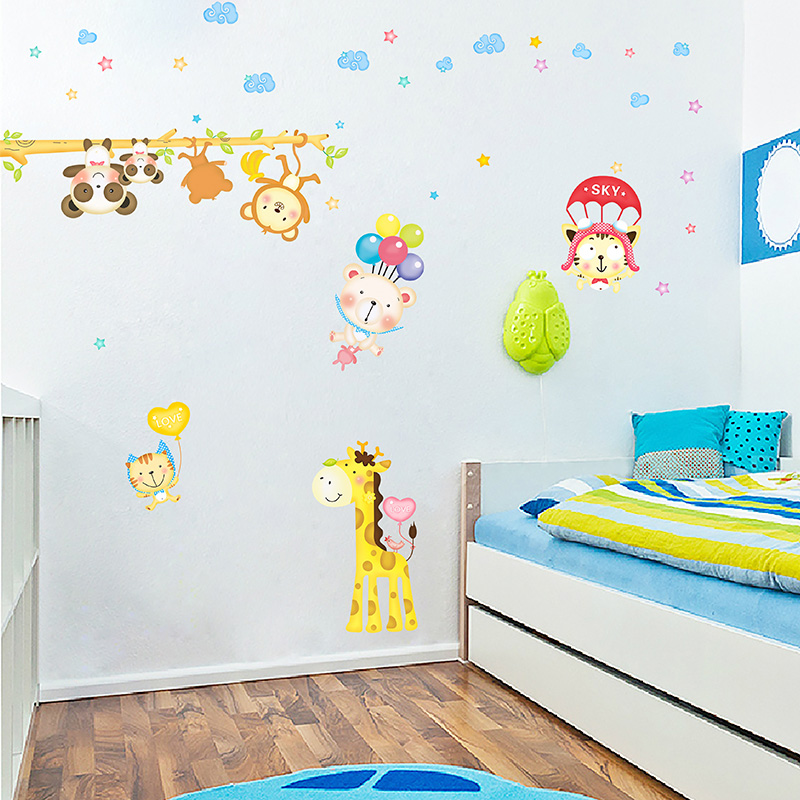 Cute cartoon animal park kindergarten children's room bedroom wall tile stickers waterproof removable sticker